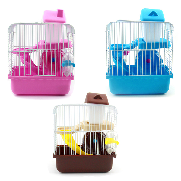 2 Floors Storey Hamster Cage Mouse house with slide disk spinning bottle