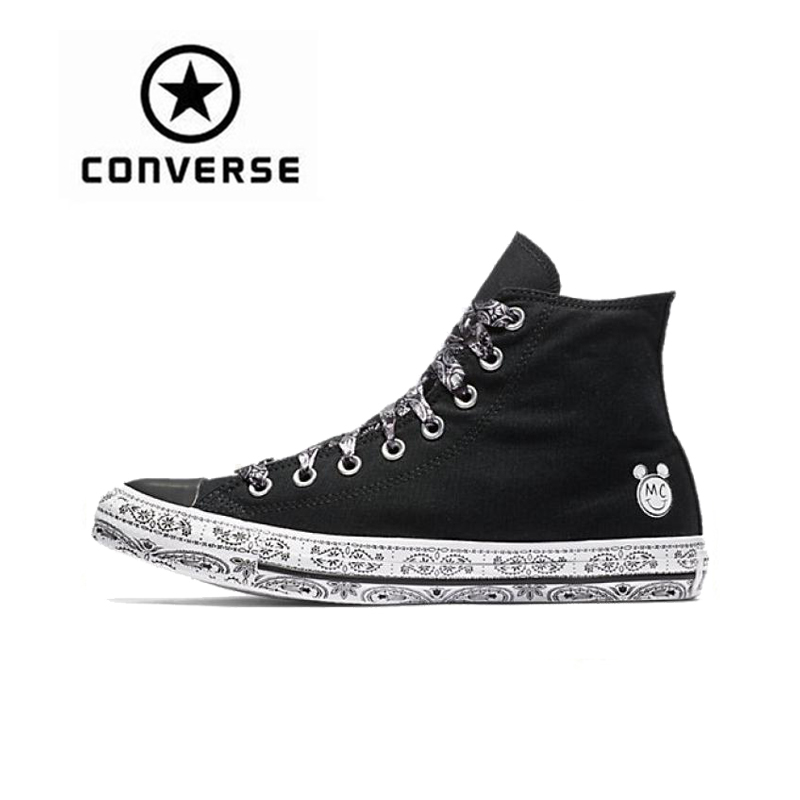Converse Women x Miley Cyrus All Star Skateboarding Shoes Sneakers Classic Canvas High Top Anti-Slippery Outdoor Sports Designer new converse chuck taylor all star ii low men women s sneakers canvas shoes classic pure color skateboarding shoes 150149c