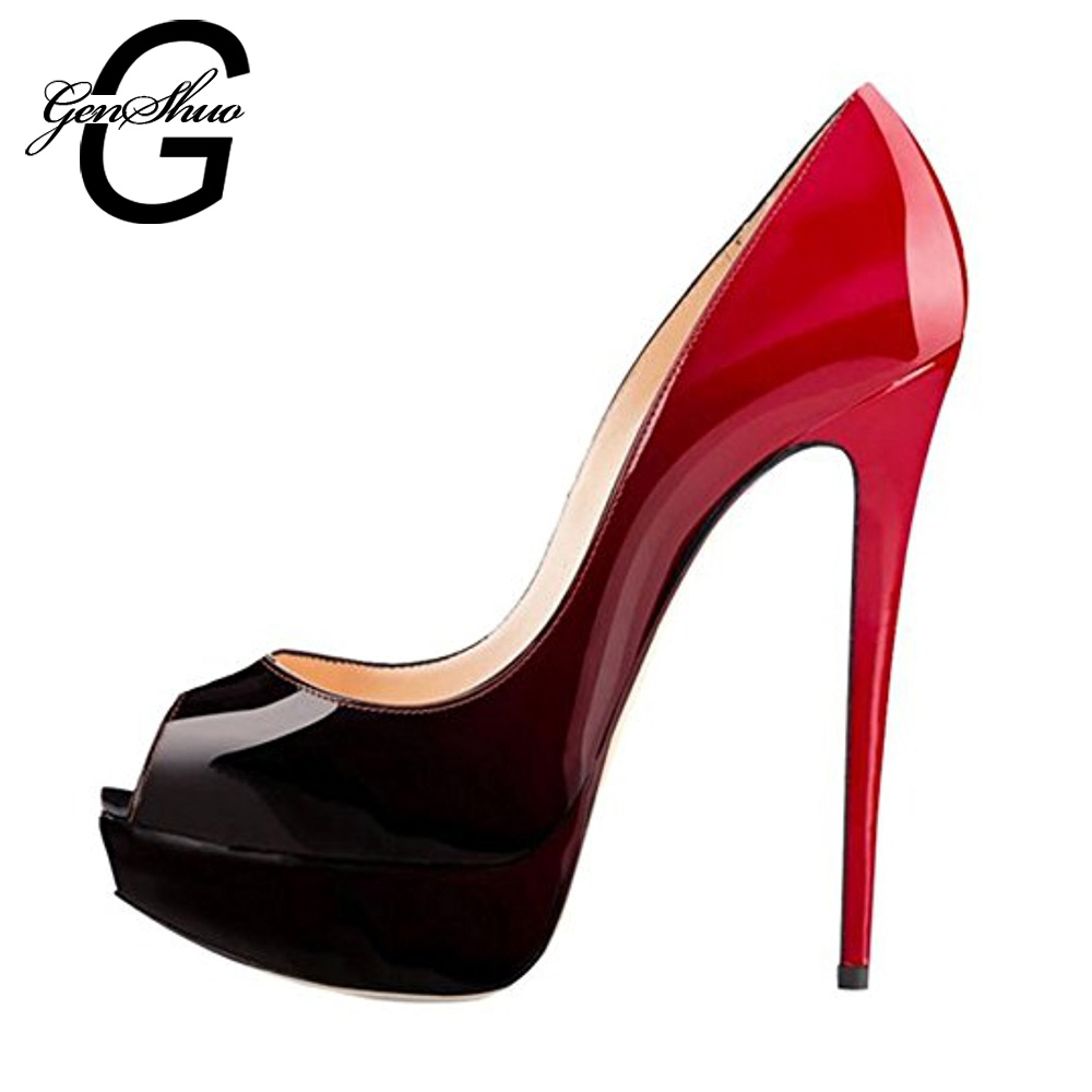 f54ad27745e US $36.53 30% OFF|GENSHUO 14CM Heels Brand Shoes Women Platform High Heels  Pumps Peep Toe Leather Red Wedding Shoes High Heels Big Size 4243 44 45-in  ...