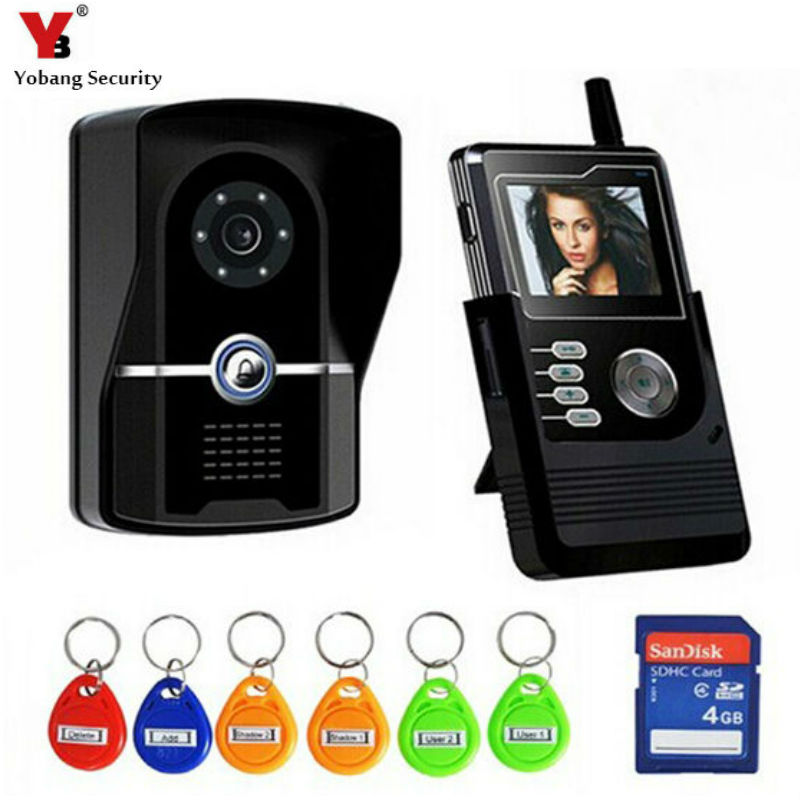 YobangSecurity 2.4G 2.4Inch TFT Wireless Video Door Phone Doorbell Home Security Intercom With Recording function,RFID Keyfobs door intercom video cam doorbell door bell with 4 inch tft color monitor 1200tvl camera