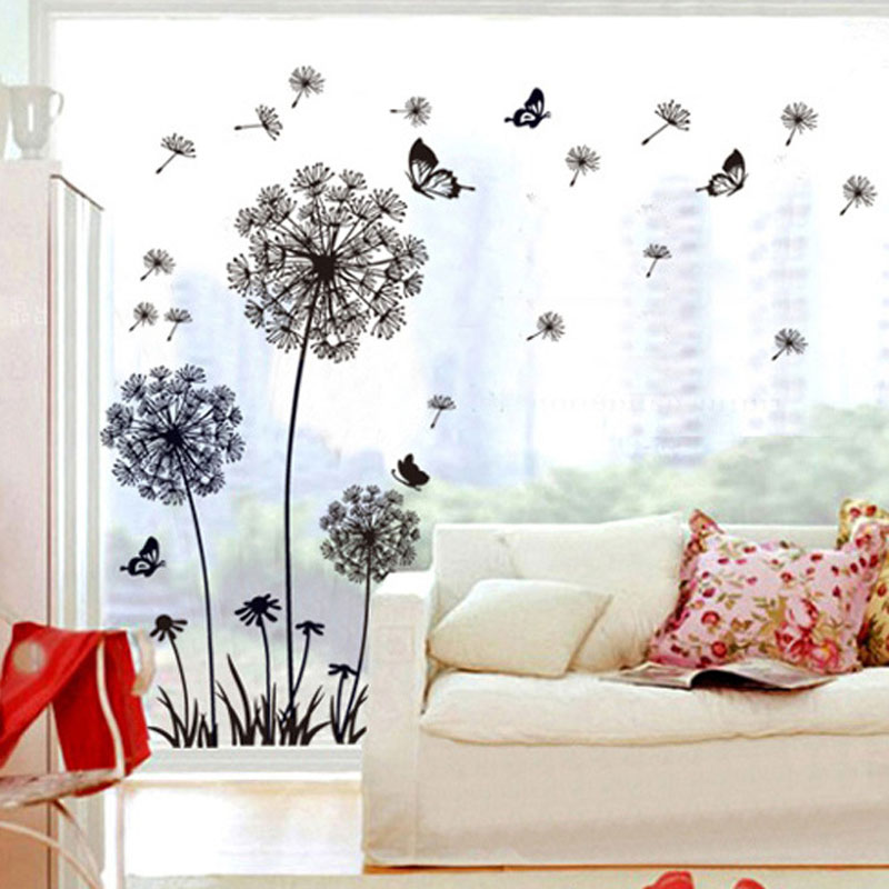 Pastoral Style Wall Stickers with Flying Butterflies Design