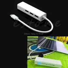 USB 3.1 Type C USB-C Multiple 3 Ports Hub With Ethernet Network LAN Adapter New #K400Y# DropShip