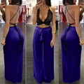 2016 New Casual Trousers Solid High Waist Chiffon Wide Leg Pants Loose Long See Through Pants Women Hot Sale K11