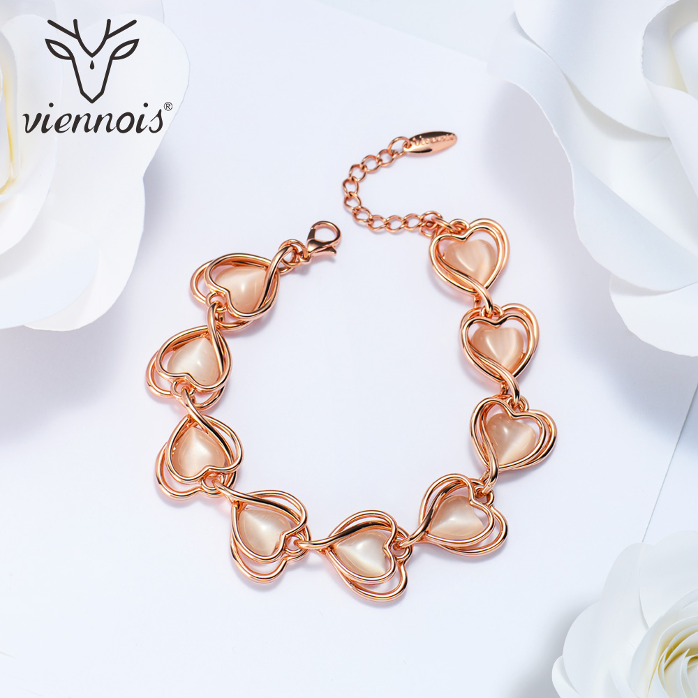 Viennois Romantic Rose Gold Color Heart Bracelets & Bangles for Women Opal Stone Chain Bracelet Female Sweet Jewelry