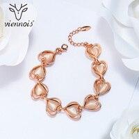 Viennois Romantic Rose Gold Color Heart Bracelets Bangles For Women Opal Stone Chain Bracelet Female Sweet
