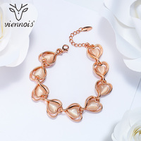 Viennois Romantic Rose Gold Color Heart Bracelets Bangles For Women Opal Stone Chain Bracelet Female Sweet