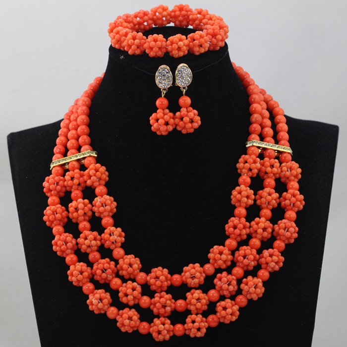 New Fashion African Costume Jewelry Sets African Bridal Orange Red Coral Balls Beads Jewelry Sets 2016 Hot Free Shipping CJ461 african orange red beads necklace sets orange gold crystal balls beads women fashion jewellery sets qw1191