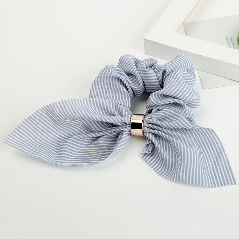Fashion Retro Striped Bow Hair Ring Plaid Fabric Hair Scrunchy Ponytail Holder Hair Ties Gum Elastic Hair Bands Rubber Bands