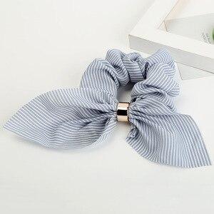Fashion Retro Striped bow hair ring plaid Fabric Hair Scrunchy Ponytail Holder Hair ties Gum Elastic Hair Bands Rubber Bands(China)