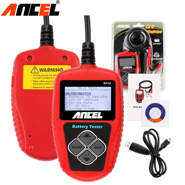Ancel BA101 Automotive 12V Auto Battery Tester Car tools Vehicle Battery Digital Analyzer 2000CCA 220AH With Multi Languages