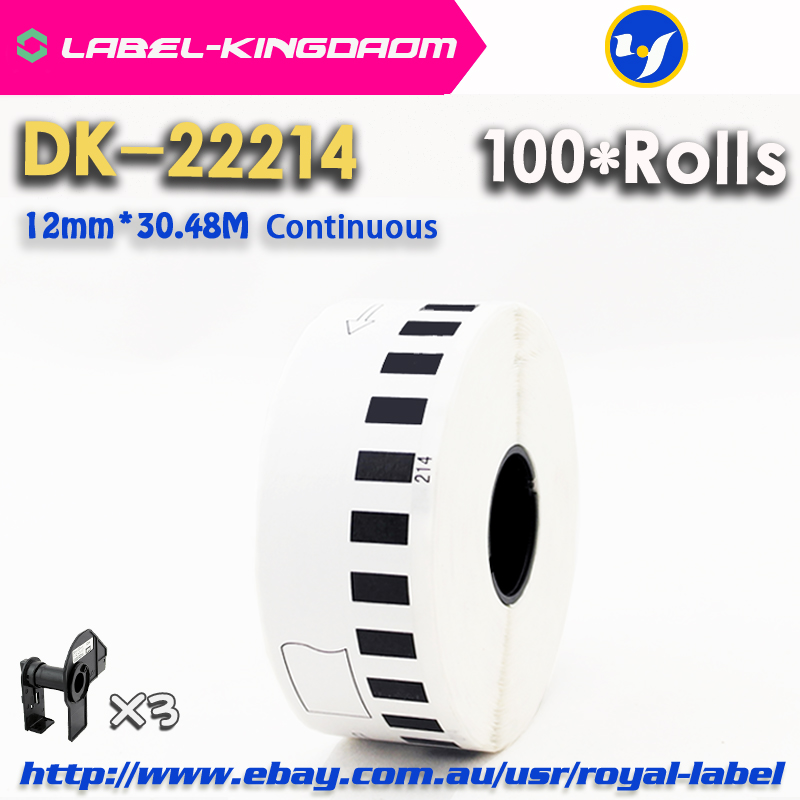 100 Refill Rolls Compatible DK-22214 Label 12mm*30.48M Continuous Compatible for Brother Label Printer White DK22214 DK2214