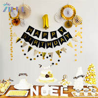 Zilue 13Pcs/Set Gold Paper Fan Hanging Paper Star Garland Balls For Birthday Party 1st Party Decor Foil Hanging Swirls Ornament
