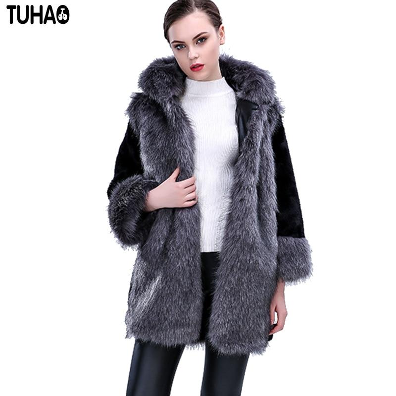 3xl 2018 Taille De Faux Noir Fourrure Grande 1 Outwear Fr Femelle Chaud Longue Coatsthick La Plus Manteau Hiver Femme Bureau qCEPYOw