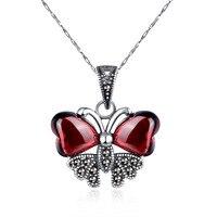 جودة عالية الإناث المجوهرات 925 فضة الأحجار الطبيعية الياقوت العقيق الأحمر الحيوان الكرتون شكل فراشة قلادة مع سلسلة