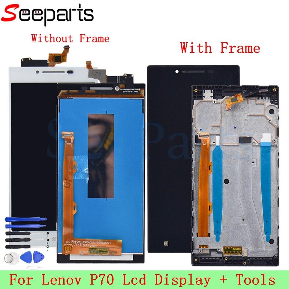 Para Lenovo P70 LCD Screen Display Toque Digitador Assembléia com Frame P70-A P70-T Substituição + Ferramentas Para 5.0