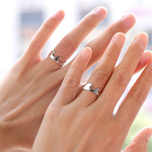 USTAR 2pcs/set Silver Ocean Wave rings for women men lovers Couple Engagement wedding female New 2019 jewelry Accessories
