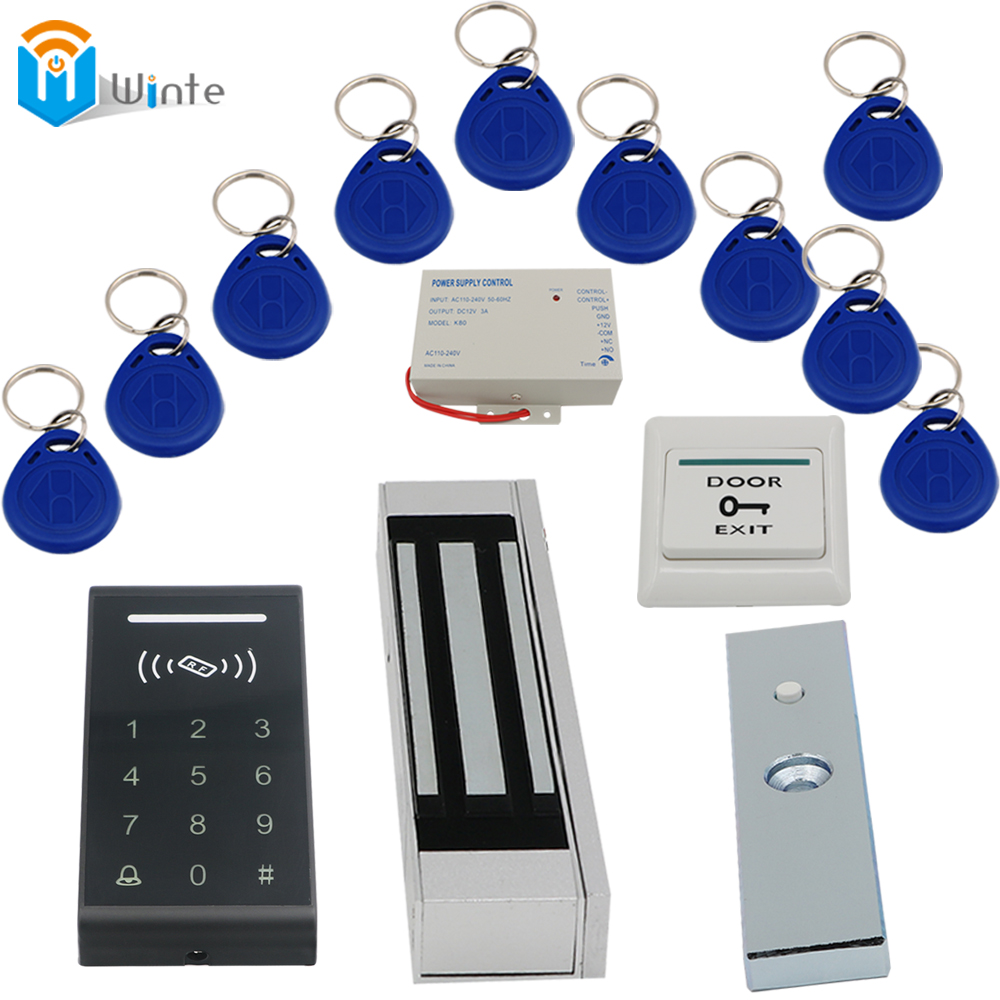 RFID Keychain card+180KGs Electric Lock+k3 rfid Card Reader+ Power supply+ exit button DIY KIT Access Control Door system Winte rfid door access control system kit set with electric lock power supply doorbell door exit button 10 keys id card reader keypad