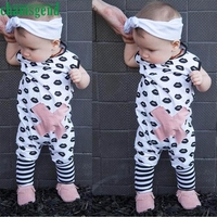 CHAMSGEND White Toddler Baby Girls Boys Lips Print Sleeveless Striped O Neck Cotton Print Jumpsuit Playsuit