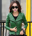 women leather jacket 2016 autumn fashion zippers pocket coat female jacket outwear turn collar faux leather Suede M-5XL 6 colors