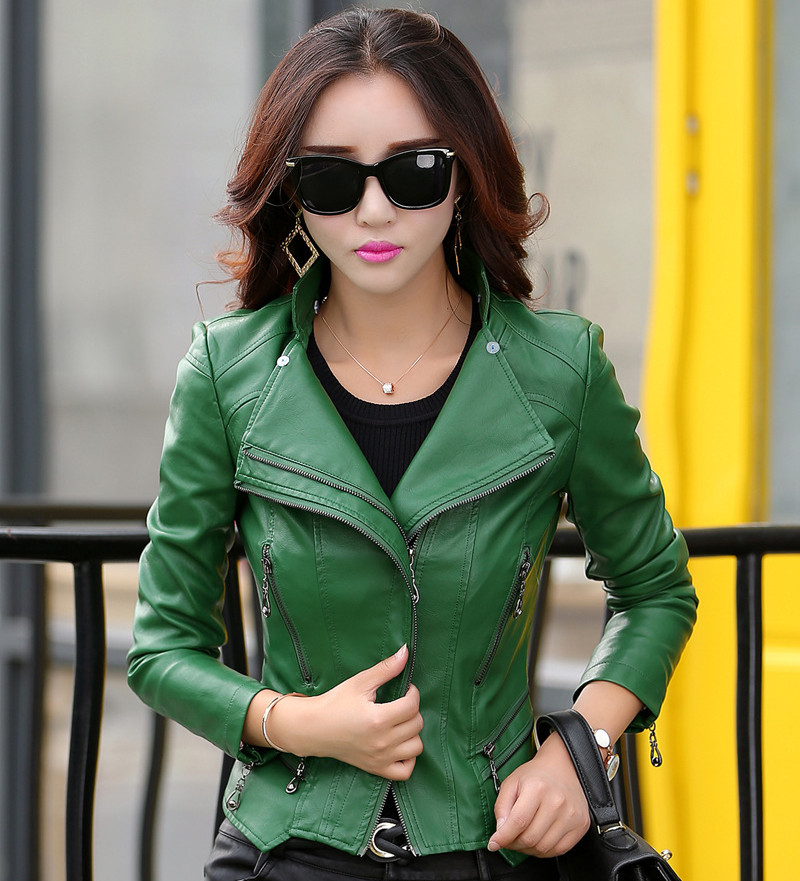 women leather jacket 2017 autumn fashion zippers pocket coat female jacket outwear turn collar faux leather Suede M-5XL 6 colors