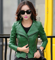 women leather jacket 2017 autumn fashion zippers pocket coat female jacket outwear turn collar faux leather Suede M 5XL 6 colors
