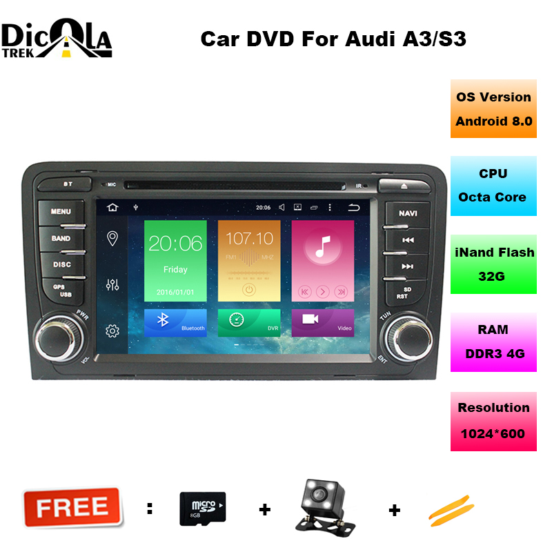 1080P 7 inch Android 8.0 4G+32GROM 2 DIN CAR DVD player For Audi A3 S3 GPS stereo radio navigation multimedia Audio Touch SCREEN 7 inch universal touchscreen for car audio car navigation dvd zcr 1879 touch screen digitizer panel 164mm 100mm
