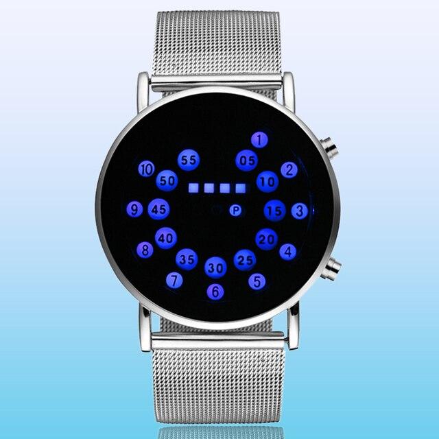 0fb6ad80119 מיוחד עיצוב כחול עגול חיוג LED שעון גברים כסף נירוסטה רשת להקת רצועת דיגיטלי  ספורט שעונים