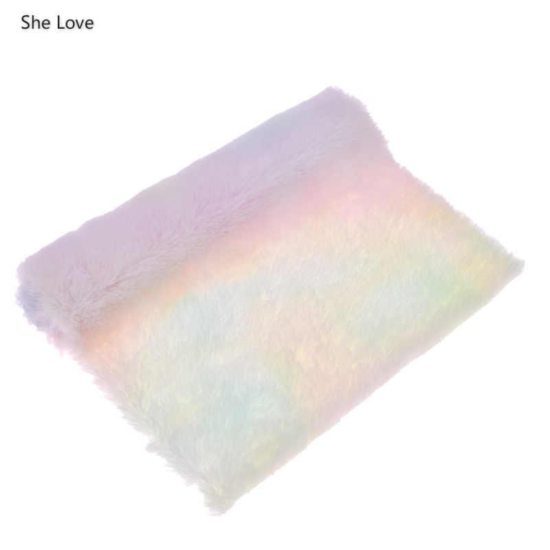 She Love 21X29 см цвет радуги Искусственный Мягкий мех Ткань мягкие Швейные материалы для сумок банты DIY украшения ремесла