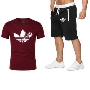 2019 القطن T قمصان + السراويل الرجال مجموعات العلامة التجارية الملابس قطعتين رياضية الأزياء عارضة بلايز تجريب اللياقة البدنية مجموعات M-XXL