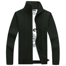 Autumn & Spring Classic Solid Long Sleeve Stand Collar Men's Sweater High Quality Knited Twisted Knitwear Male Cardigan