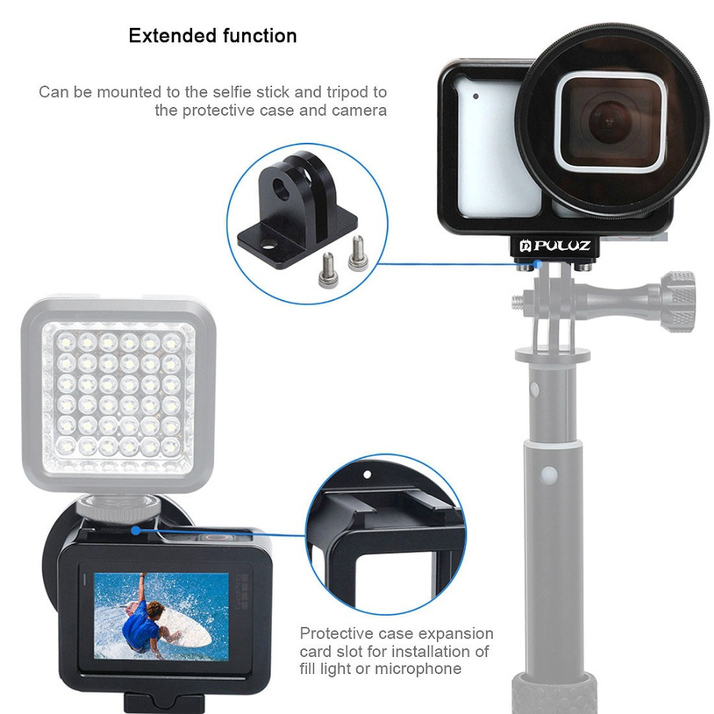 New CNC Aluminum Alloy Cover Protective Case Shell Cage with 52mm UV Filter Lens Cover for Gopro Hero 7 Action Cameras in Sports Camcorder Cases from Consumer Electronics