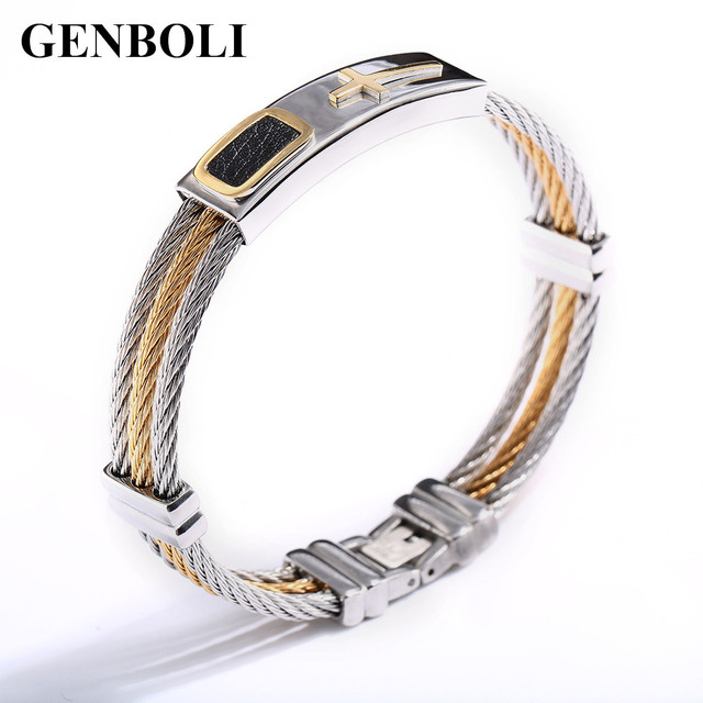 1416688455cf Creative Men 3 Row Wire Chain Bracelets Casual Men Stainless Steel Cross  Best Valentine Christmas Gifts fashion Jewelry Bangles