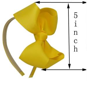 Image 2 - 22 unids/lote de diademas con lazos sólidos para niñas con dientes, lazos de pelo duros hechos a mano para niñas, diademas para el cabello Accesorios