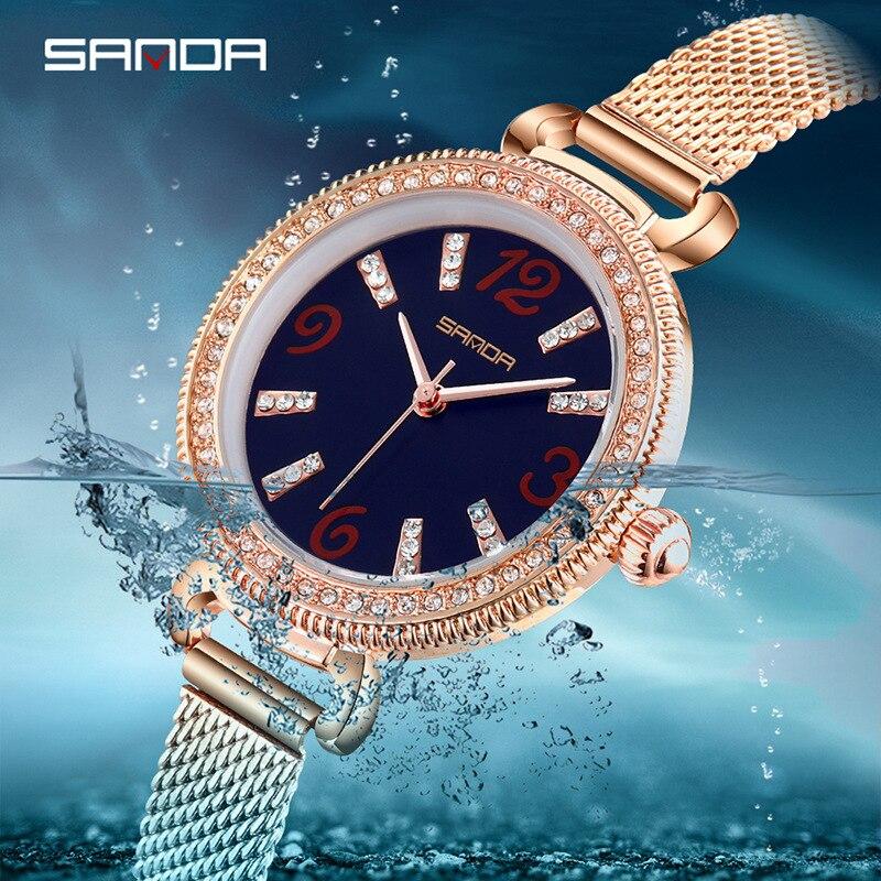 Three At Wrist Watch Woman Fashion Diamond Scale Small Clock Dial Surface Waterproof Latest Fashion Milan Bring Quartz|Women's Watches| |  - title=