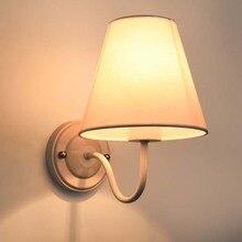 BOKT E27 Wall Sconce Retro Light Simple And Creative Bedroom Bedside Lamp Cloth Lights Black Brown For Home Ligting