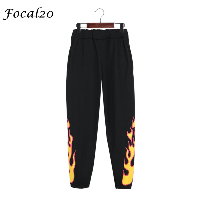Focal20 Harajuku Flame Print Women Pants Elastic Waist Casaul Loose Fire Flame Print Full Length Pants Trousers Streetwear