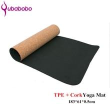 5MM bieza neslīdoša TPE + korķa jogas paklājiņi fitnesa dabīgajiem vingrošanas vingrošanas matiem Joga vingrošanas paliktņi masāžas mati 183 * 61 * 0.5cm