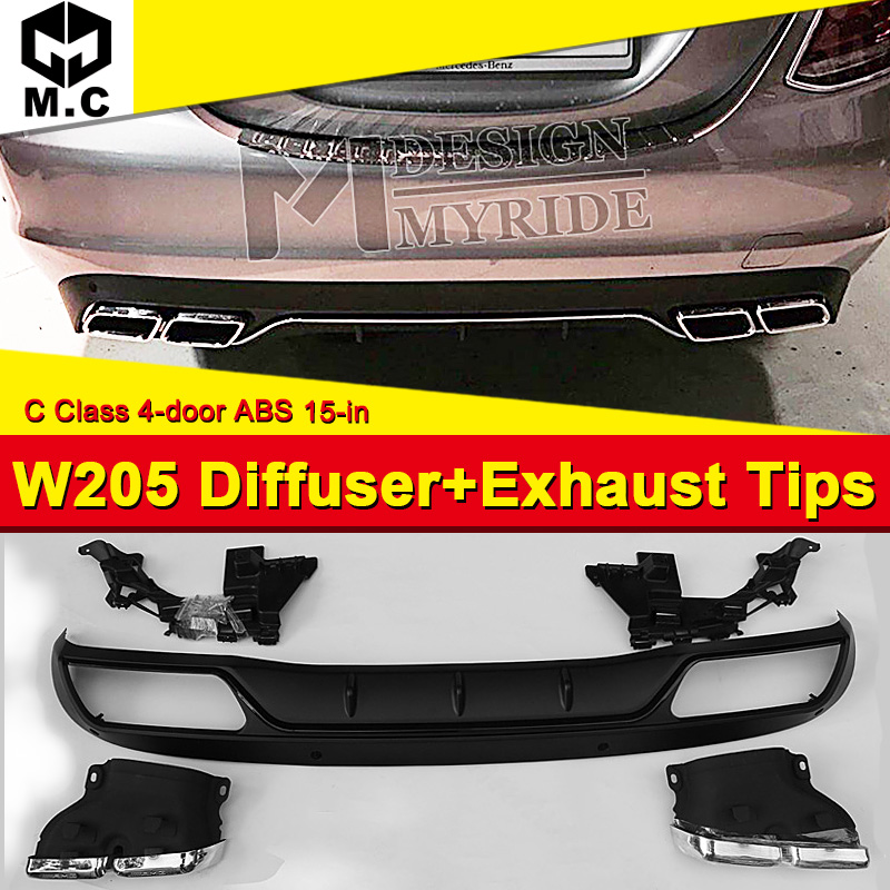 W205 Diffuser+Exhaust Tips Fit For Benz 4 door PP Rear Bumper Diffuser Lip 4-Outlet Exhaust Endpipe C180 C200 C250 C300 15+