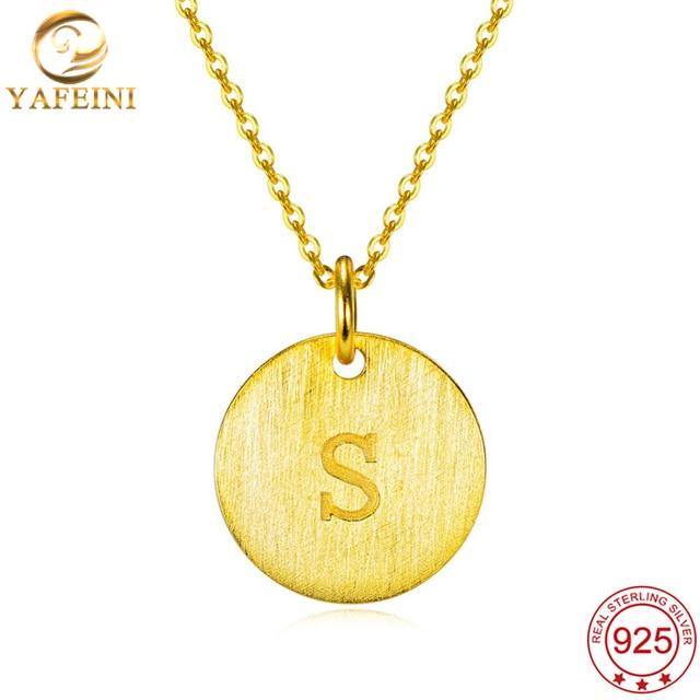 Yafeini 925 joyas de plata esterlina colgante collar de plata de la letra j az letras iniciales nombre colgante alfabeto gnx10468