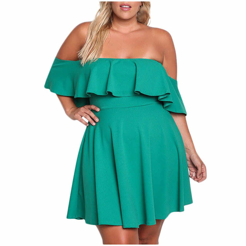 Jaycosin Kleding Jurk Vrouwen Plus Size Off Shoulder Solid Clubwear Ruches Mouwen Party Mini Daliy Jurk