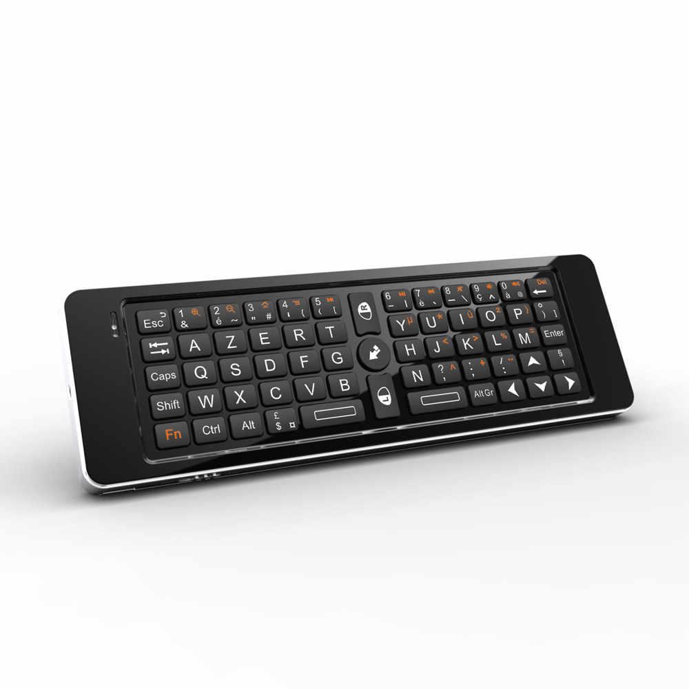 Rii K13 Russisch/Frans/Spaans Mini Draadloos Toetsenbord Fly Air Muis Combo Mircophone Speaker IR Afstandsbediening leren Voor PC TV Box
