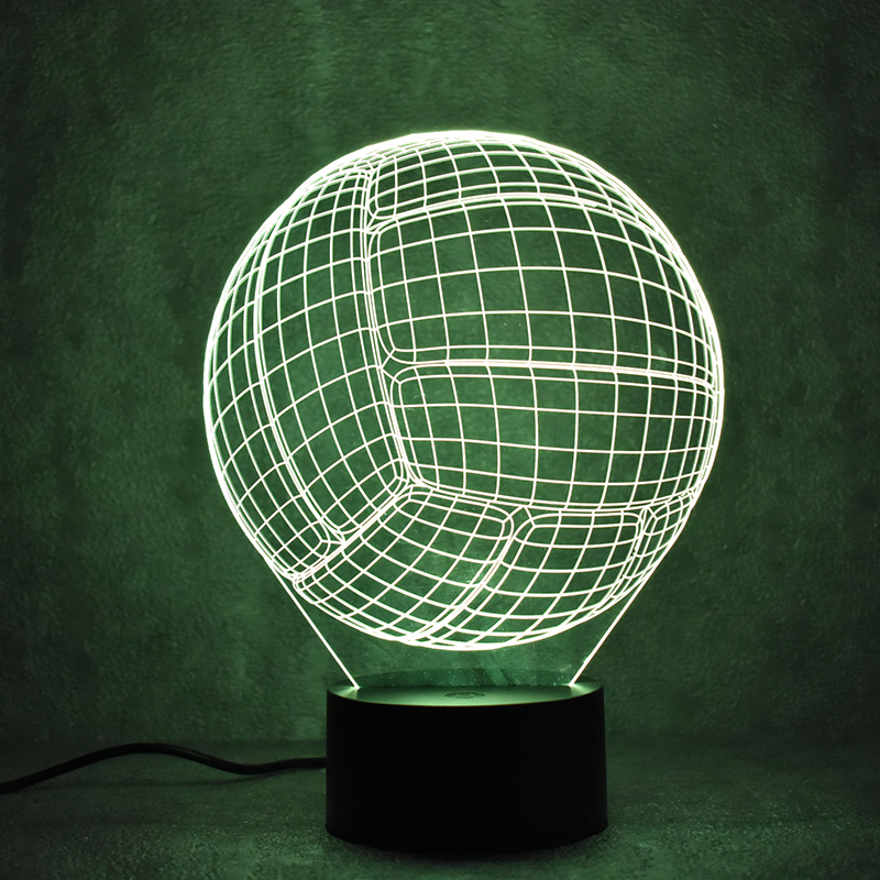 Creative 3d Led Visual Colorful Light Fixture Usb Table Lamp Novelty Ball Shape Volleyball Lamp Baby Sleeping Night Light Gifts High Safety Lights & Lighting