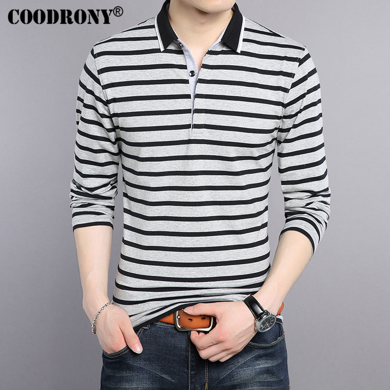 COODRONY T-Shirt Men 2017 New Spring Summer Pure Cotton Turn-down Collar T Shirt Men Casual Striped Long Sleeve Tshirt Tops 7609