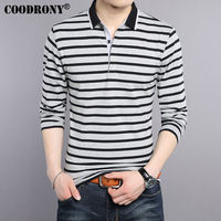COODRONY T Shirt Men 2017 New Spring Summer Pure Cotton Turn Down Collar T Shirt Men