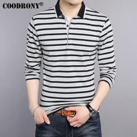 COODRONY T Shirt Men 2017 New Spring Summer Pure Cotton Turn Down Collar T Shirt Men