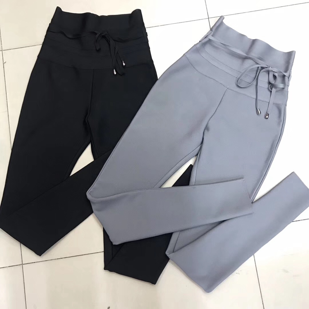 2019 Fashion Grey Black Women Sexy Bandage Pants Sashes Bodycon Hight Pencil Pants Clubwear Solid Casual Summer Wholesale