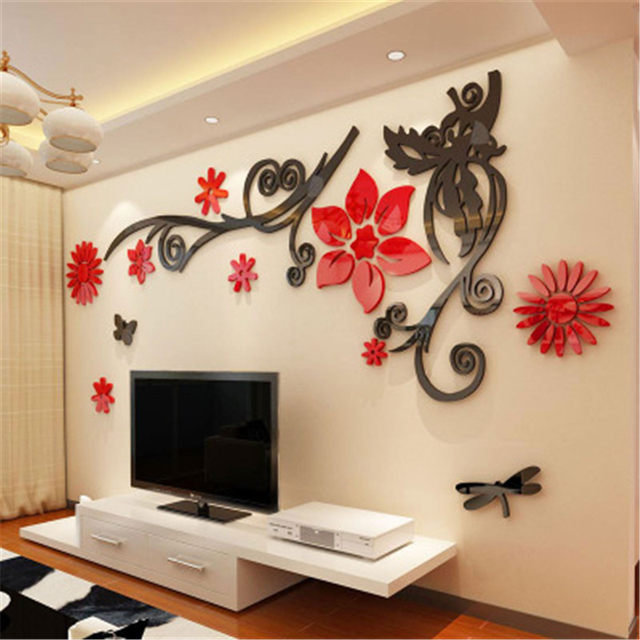 3D stereo Flower vine Acrylic Crystal Wall stickers Home Decor Diy Mirror Wall sticker Tree Living room Sofa TV Background Decal 2