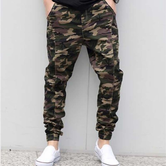 free shipping 2017 New Low rise Military skinny Men Pants Camouflage Harem Personality Male Plus Size pencil pants