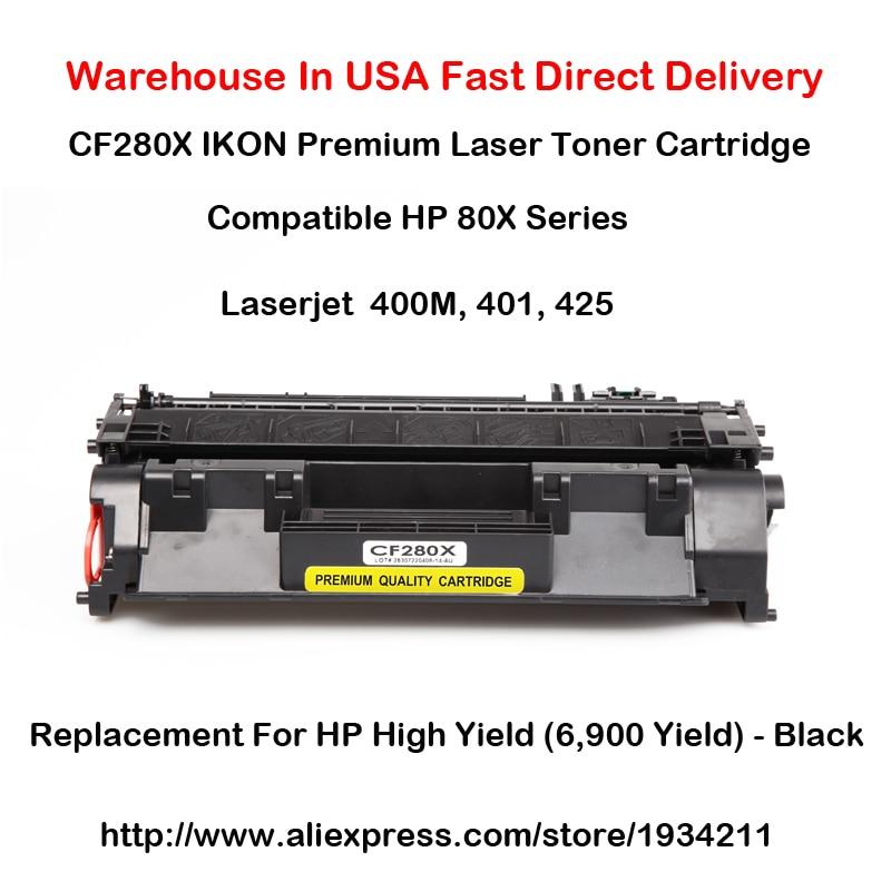 CF280X 80X Series ตลับหมึกเลเซอร์รองรับสำหรับ HP LaserJet 400M, 401, 425 High Yield (6,900 Yield) - ดำ