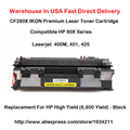 CF280X 80X Series Laser Toner Cartridge Compatible For HP LaserJet 400M, 401, 425 High Yield   (6,900 Yield) - Black